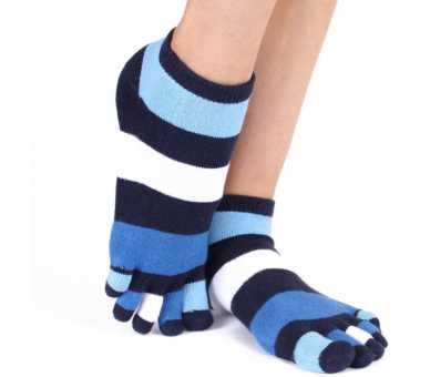 Socquette à 5 doigts fashion bleu - navy - blanche