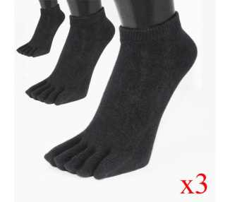 Lots de 3 paires de socquettes noires ToeToe