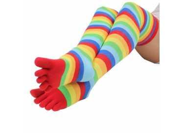 Bas / jambière à 5 doigts multicolores