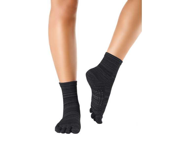 Chaussettes antidérapantes massantes noires à 5 doigts KNITIDO