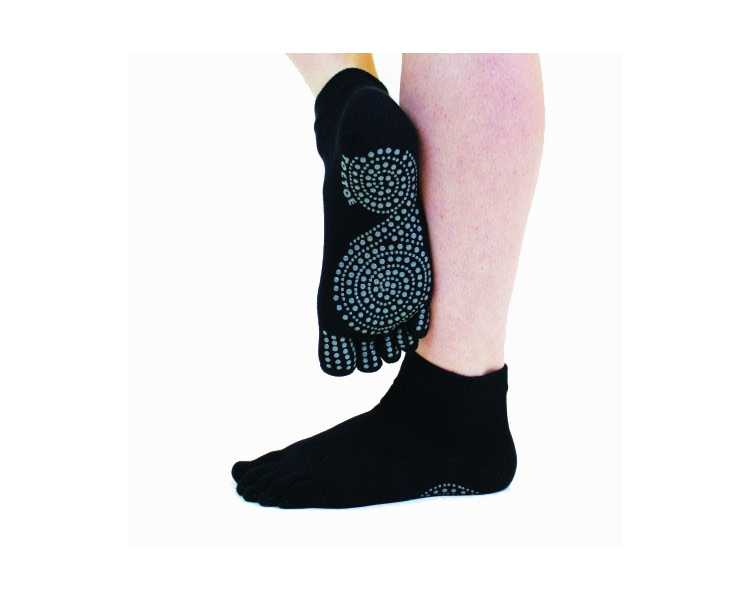 Socquettes antidérapantes à 5 doigts toetoe noire