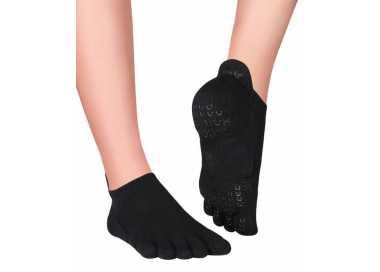 Sora chaussettes antidérapantes à 5 doigts noires en coton bio