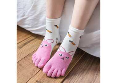 Chaussettes à 5 doigts lapin blanche et rose pour enfant