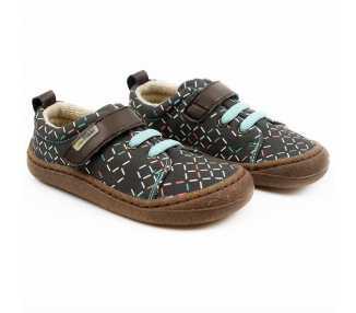 chaussures minimalistes modèle Harlequin Vegan, coloris lines, marque Tikki Shoes