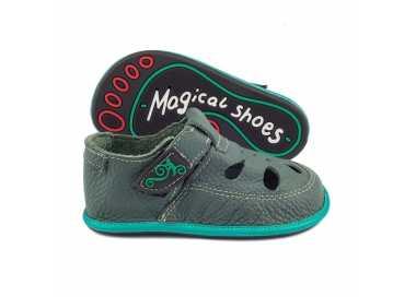 Sandales minimalistes Coco vert Enfant Magical Shoes