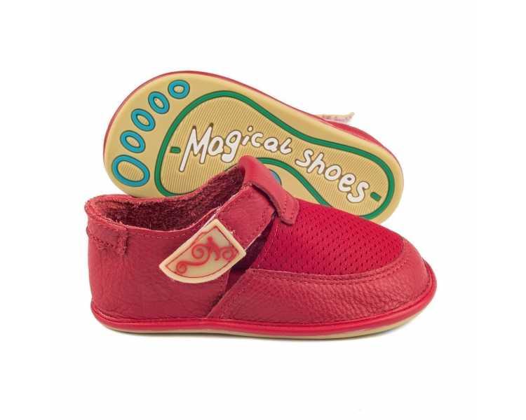 """Chaussures pieds nus modèle """"Bebe"""" rouge Enfant Magical Shoes"""