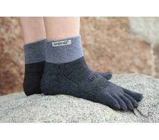 Chaussettes à cinq doigts Injinji Trail Midweight Mini-Crew grise