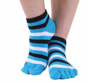 Socquettes à 5 doigts multicolores turquoise