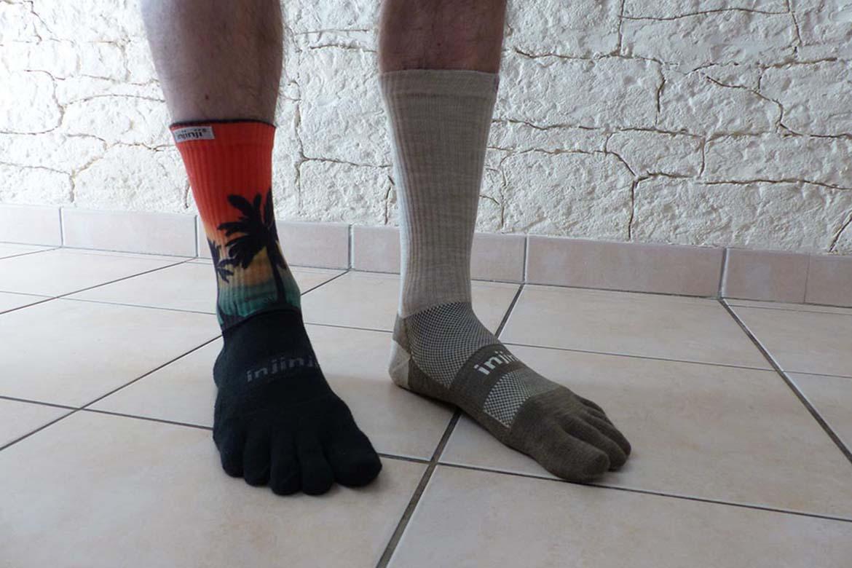Test des chaussettes Injinji à cinq doigts Trail MW et Nuwool Crew MW