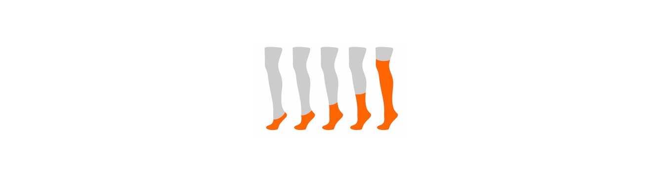 Chaussettes à doigts classées par longueur au niveau de la jambe