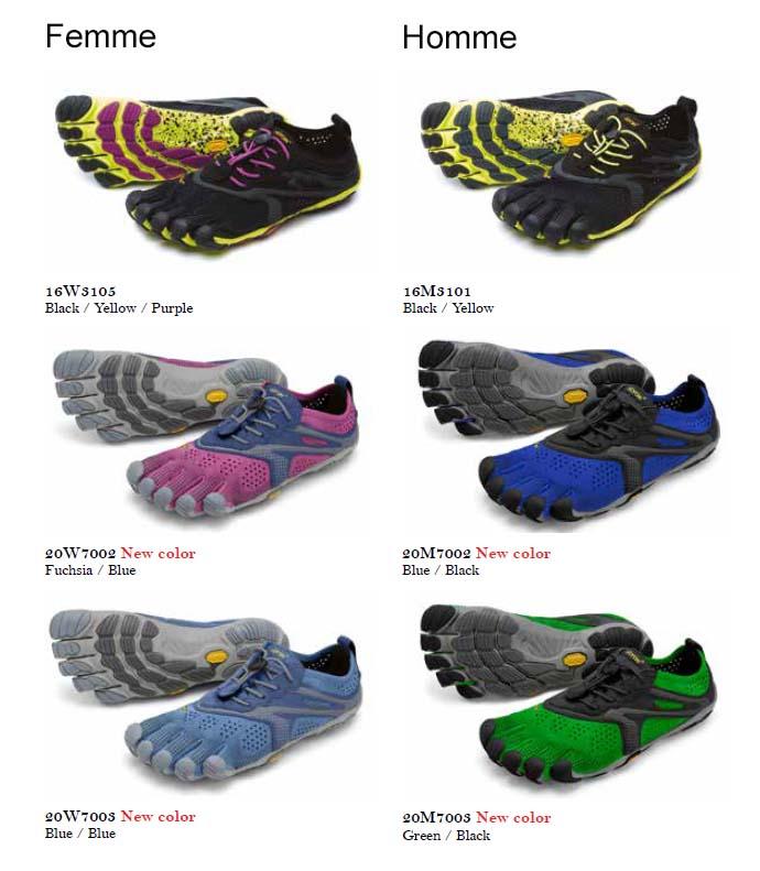 Chaussures minimalistes FiveFingers V-Run, photo de tous les couleurs 2020