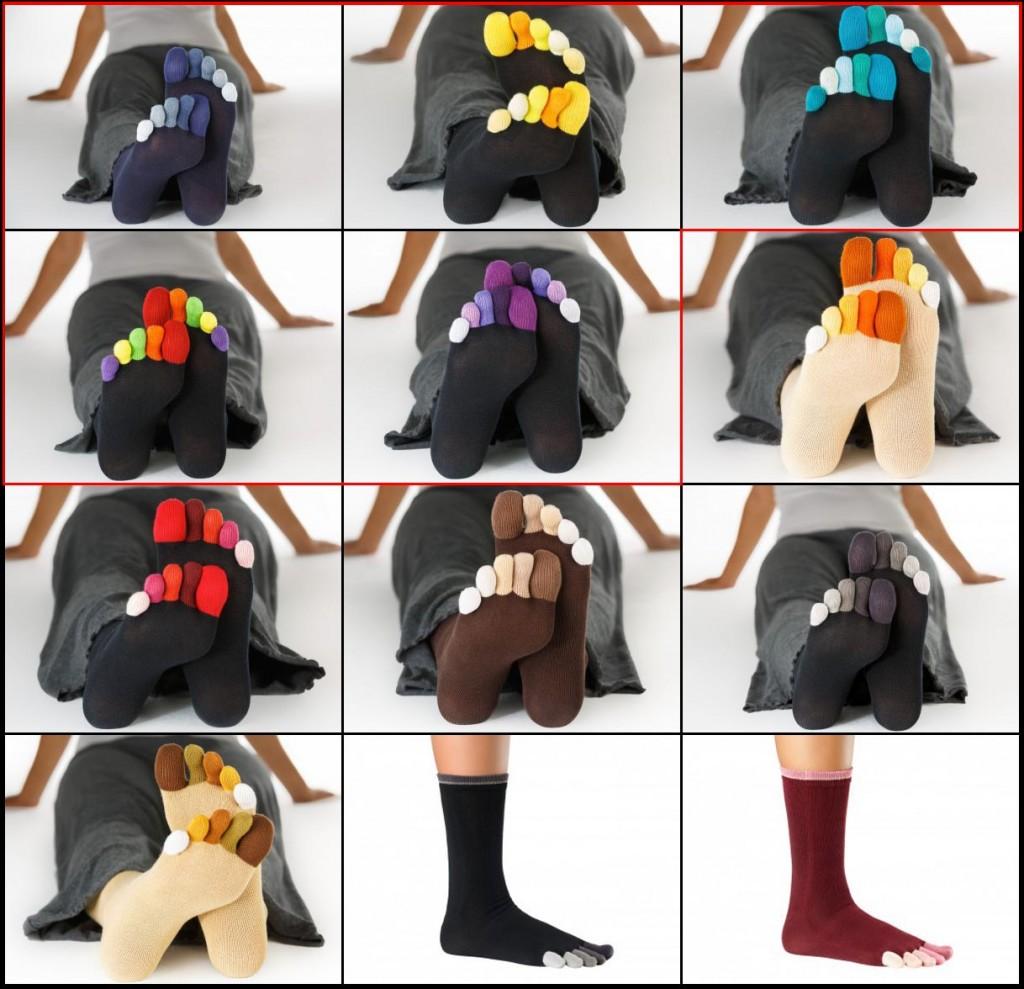 Tous les coloris chaussettes Knitido modèle Rainbow (chaussettes multicolores)