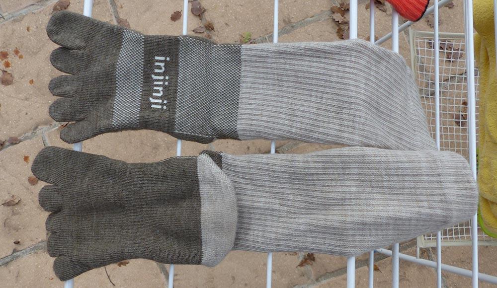 Usure après lavage des chaussettes à doigts Injinji en laine Nuwool