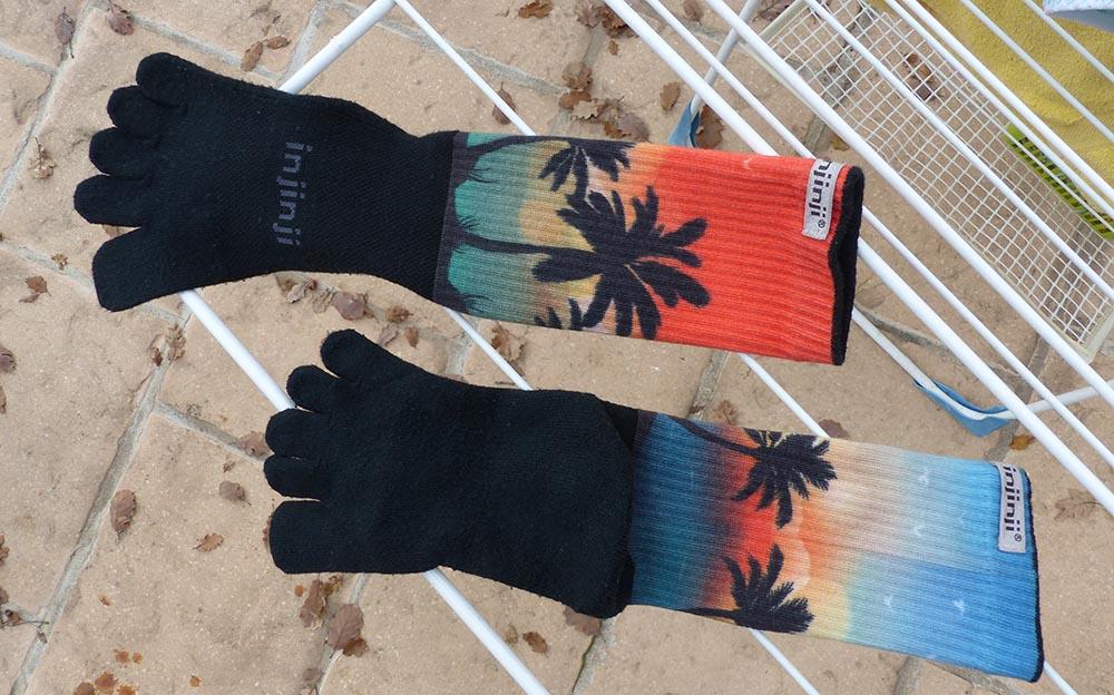 Usure après lavage des chaussettes à cinq doigts Injinji Trail Spectrum