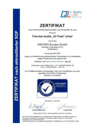 Certificat antimicrobien des chaussettes à doigts Dr Foot Silver-Protect