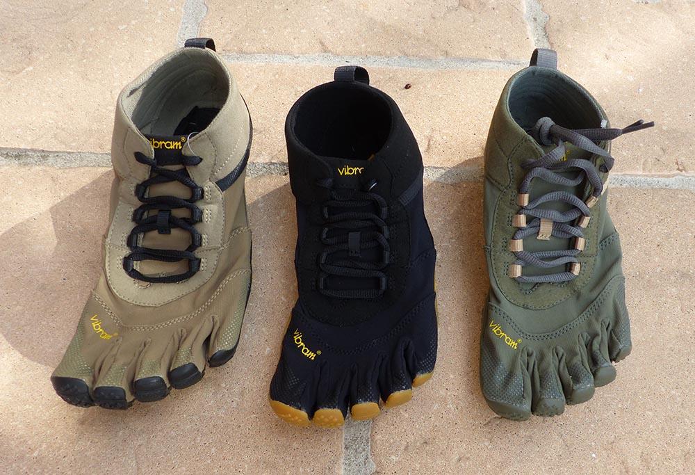Photos des chaussures FiveFingers V-Trek montrant tous les coloris pour homme