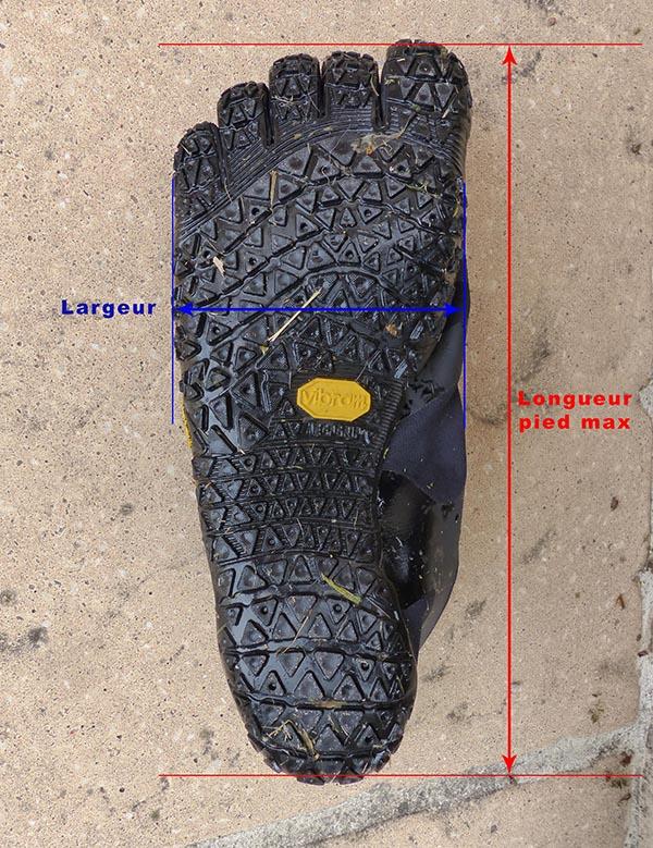 Semelle représentant comment sont prises les mesures de longueur et de largeur faites sur les FiveFingers