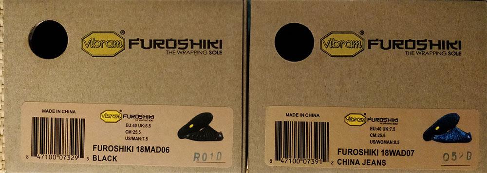 Photo d'une boite de chaussure Furoshiki pointure 40 femme à côté d'une pointure 40 homme